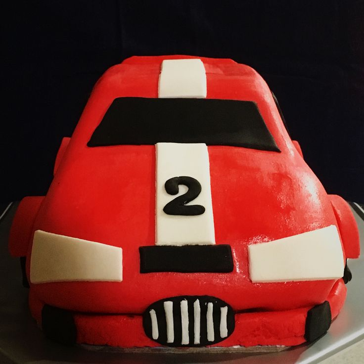 (Front) Red Race Car Birthday Cake for a little man turning 2. Chocolate Cake with Marshmallow Fondant.