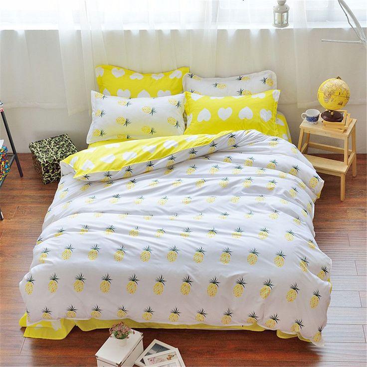 White&Yellow Pineapple Duvet Bedding Set