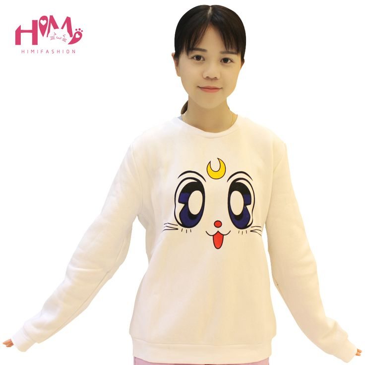Japanese Anime Sailor Moon Hooded Tops Cute White Winter Hoodies Women Kawaii Warm O-neck Casual Fluff Cotton Hoodie For Ladies
