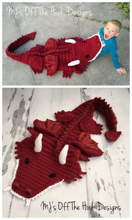DIY Crochet Dragon Blanket - what a perfect snuggle sack idea!