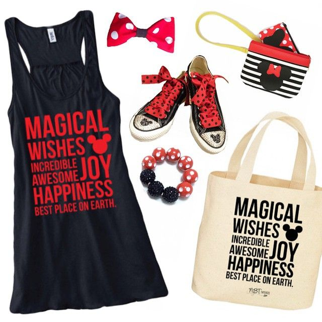 RE-STOCKED!!! All sizes are in-stock and ready to ship M, L, XL & 2XL in the women's ❤️❤️❤️❤️❤️ minnie bow @sweetteabows ❤MAGICAL tank and tote @nbtthreads ❤mickey converse @simplyfrostedbling ❤️mickey wristlet @babymamasewshop ❤️minnie bracelet @makschicbowtique ❤️ #nbtthreads #mickey #disney #disneyland #momlife #disneymamapose #minniebracelet -- tanks are $28.99 + ship! ❤️