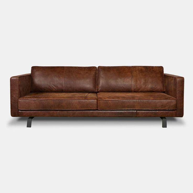 i sofa bank bjorn 3 zits leder cognac leen bakker banken