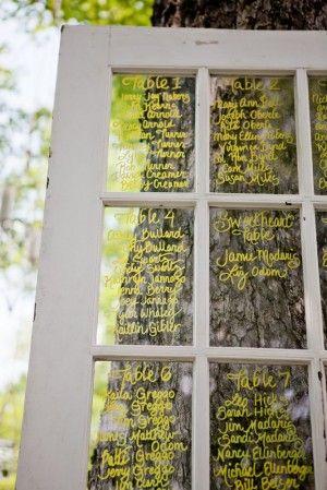 Window pane seating plan