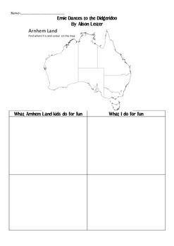 "This worksheet requires the students to have read (or have the teacher read to them) the book ""Ernie Dances to the Didgeridoo"" by Alison Lester. Students can compare and contrast things they do in different seasons to the things the Aboriginal children in Arnhem Land-Northern Territory, do in their different seasons."