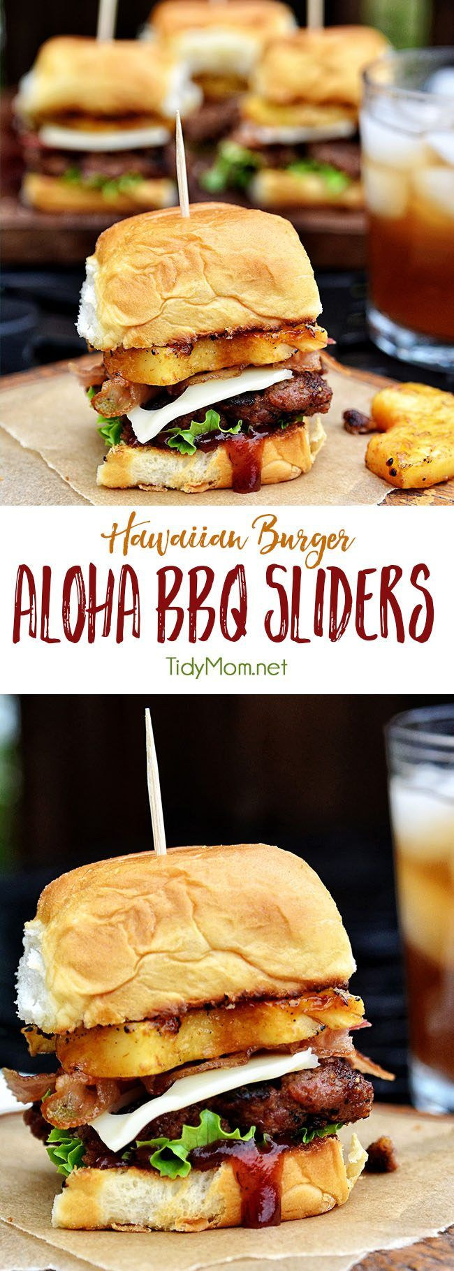 Fire up the grill for this Hawaiian burger recipe. Aloha BBQ Sliders are flavored with BBQ sauce, served on sweet rolls with cheese, pineapple and bacon. Aloha BBQ Sliders recipe at TidyMom.net