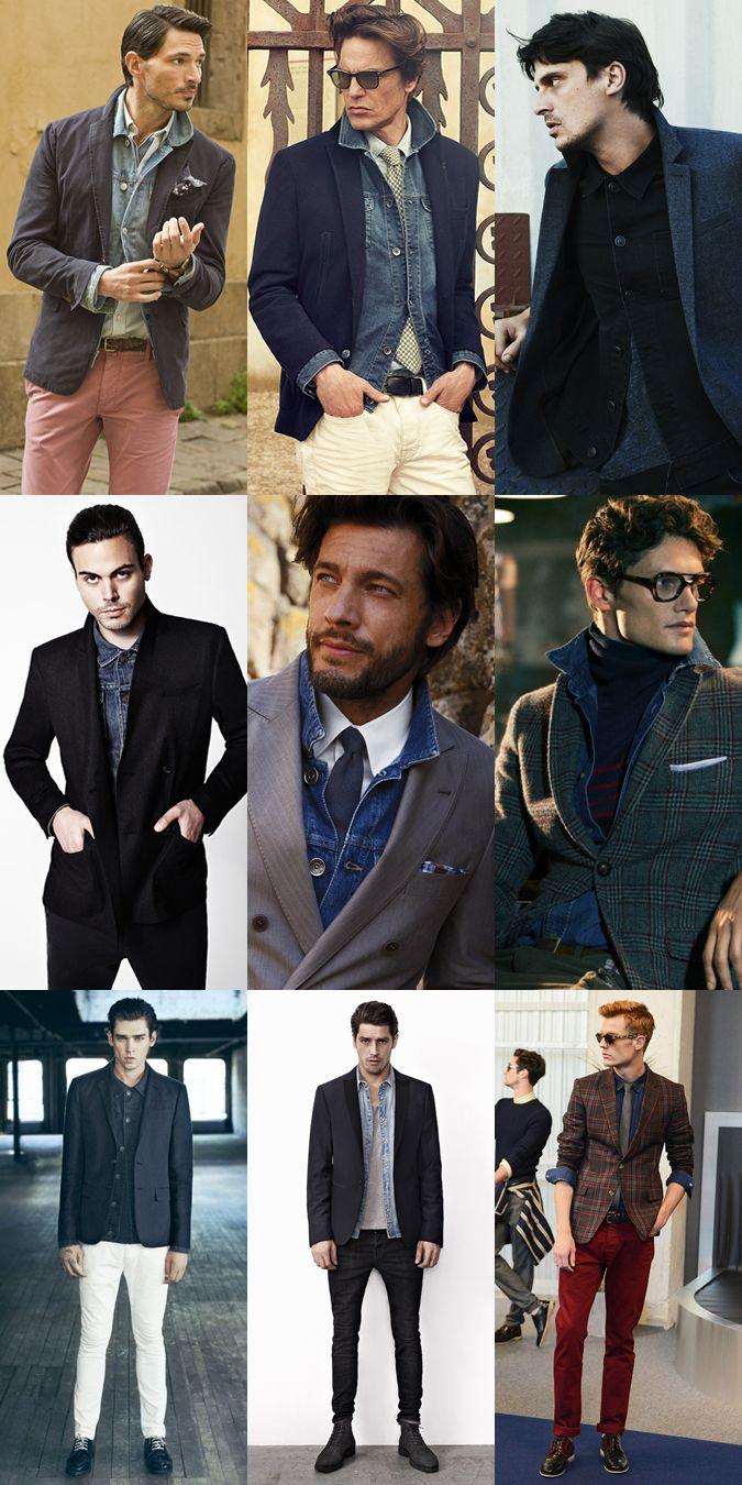 Men S Lookbook Denim Jackets Shirts Layered Under Blazers Men S