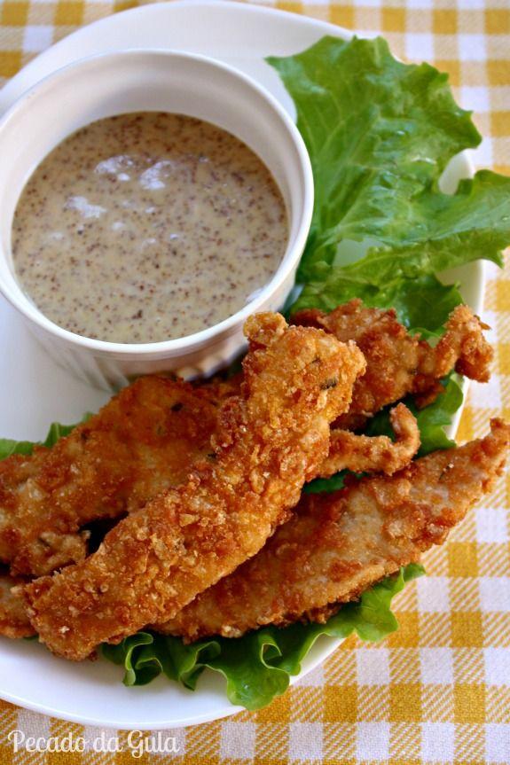 receita de iscas de frango, molho de mostarda e mel, aperitivo, tira-gosto, receita com frango