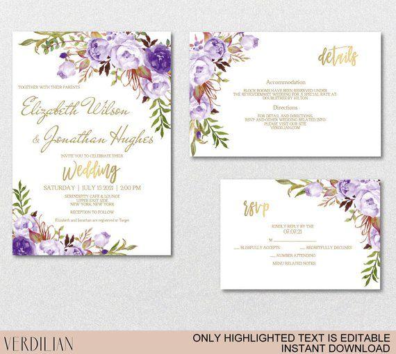 Gold Purple Floral Wedding Invitation Template Set Purple