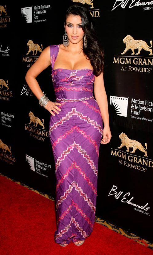 Kim Kardashian Wows In A Purple Maxi Dress At The MGM Grand Opening, May 2008