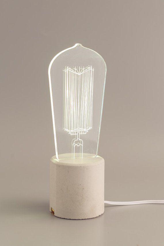 Light Bulb Edison Bulb Lamp Decorative Light Gift For Etsy Edison Bulb Lamp Concrete Table Lamp Lamp