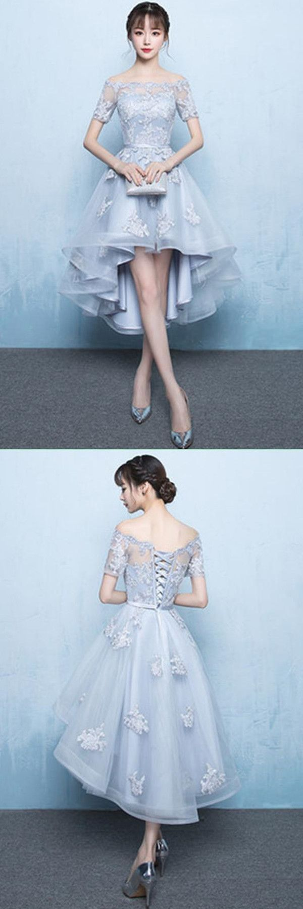 A-Line Off Shoulder Long Tail Homecoming Dress With Appliques