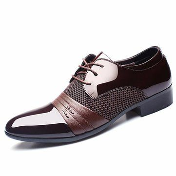 Men Formal Ponited Toe Lace Up Plaid Check Business Shoes Online - NewChic Mobile version.