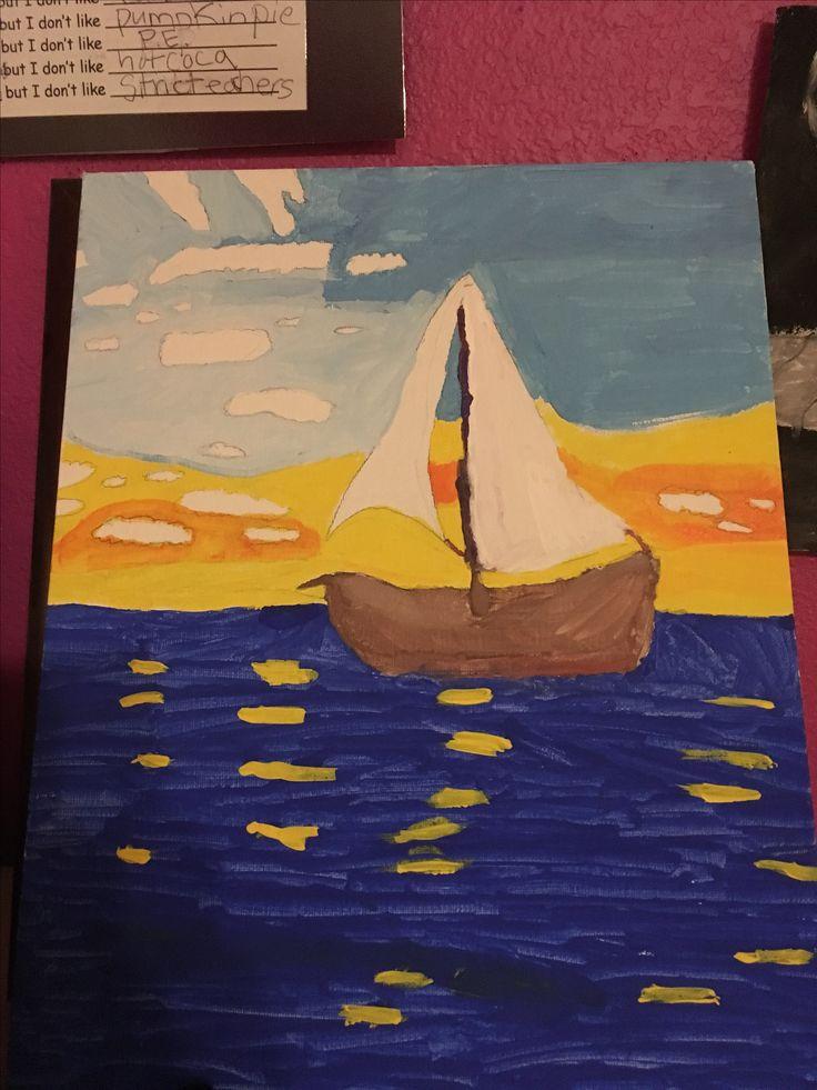 Sailboat sunset painting