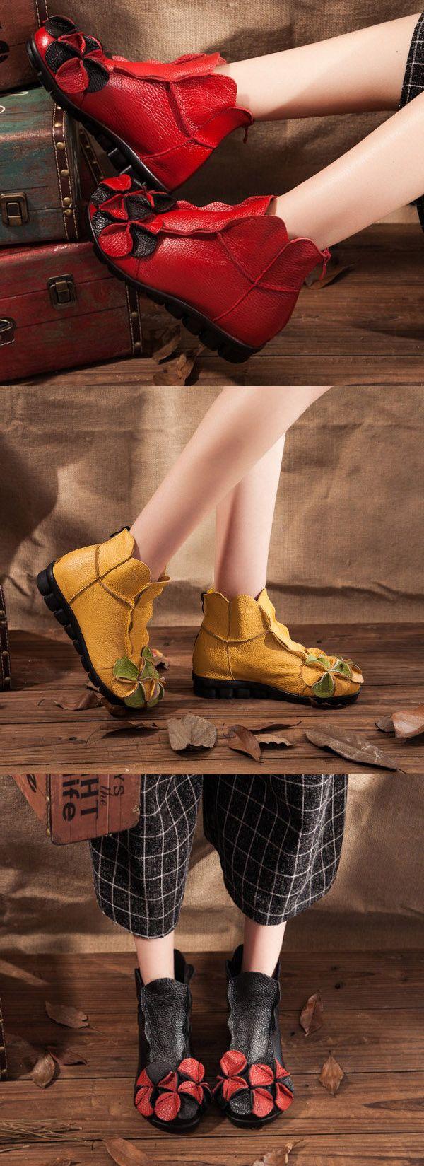 $29.68 Socofy Flower Soft Leather Ankle Vintage Slip On Flat Boots