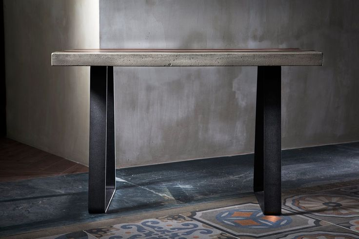 #concrete #dining #table #handmade #metal made by www.greymatters.gr