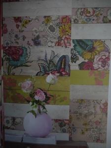 Eijf Ibiza Wallpower Madera Mosaico ruit+bloemen - Eijf Ibiza (Eijffinger behang) - Eijffinger - >Behang - Behangstore