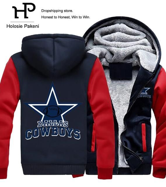 Dropshipping Men Women Steelers Broncos Cowboys Hoodies Zipper Sweatshirts Jacket Printed Winter Thicken Hooded Coat