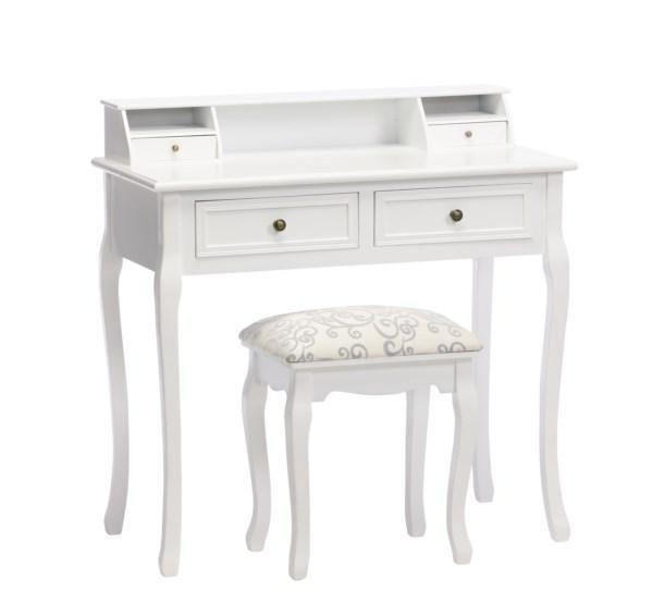 Hvidt Konsolbord 4 skuffer svejfede ben m/taburet 88x87x43cm - Se flere Hvide møbler og Spejle