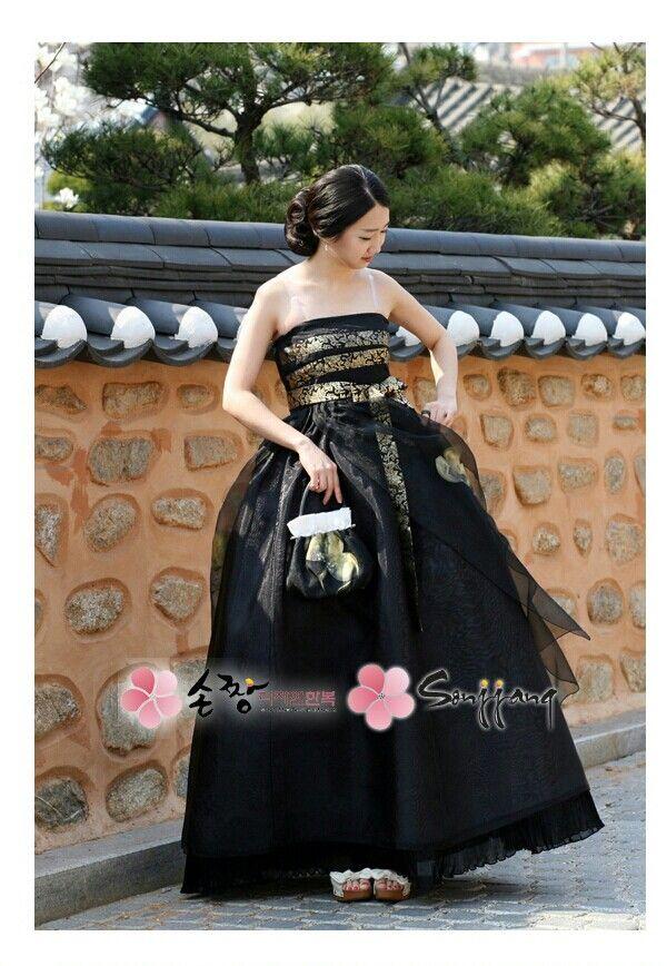 손짱 한복. Sonjjang hanbok. 퓨전 한복. Fusion hanbok. 검은 드레스