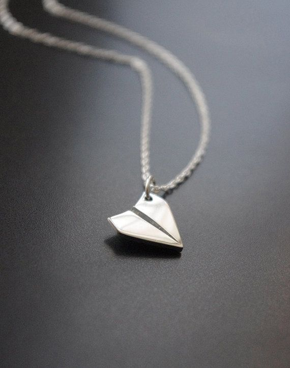 Paper Airplane Necklace Simple Sterling Silver by SarahOfSweden