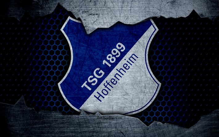 Herunterladen hintergrundbild hoffenheim, 4k, logo, bundesliga, metal texture, soccer, tsg 1899 hoffenheim, football