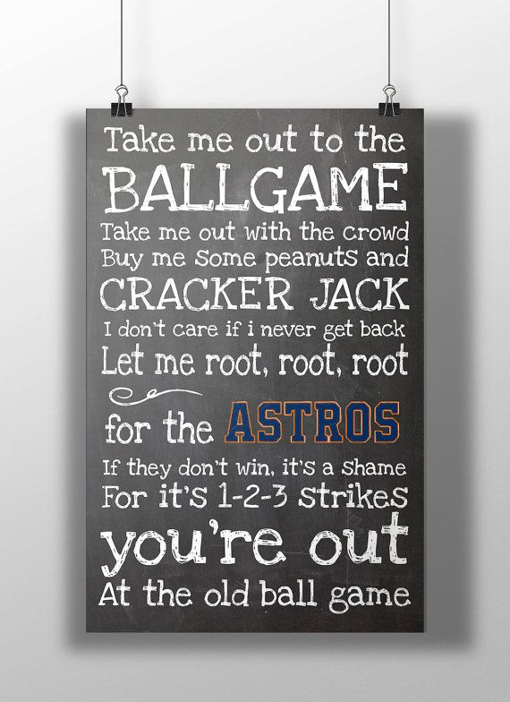 Houston Astros Take Me Out to the Ballgame by BigLeaguePrints, $12.00