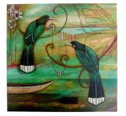 Kathryn Furniss NZ Manuka Chain Print - print, nz, artist, kathryn, two, native, birds, ... - Shopenzed.com