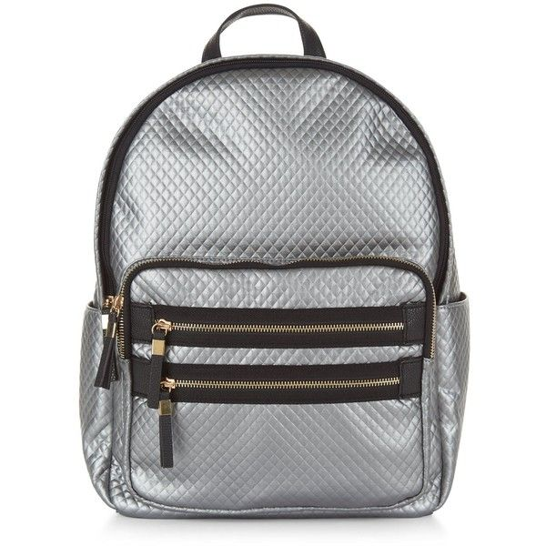 Silver Metallic Quilted Backpack ($17) ❤ liked on Polyvore featuring bags, backpacks, silver, day pack backpack, pocket backpack, quilted backpack, new look bags and new look backpack