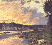 The Seine at Bougival in the Evening  by Claude MonetImpressions, Artists, Monet Painting, Artworks, Claude Monet, Bougiv, Canvas, Claudemonet, Its