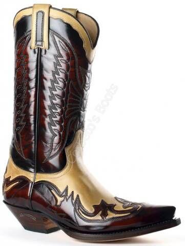 Bota cowboy Sendra unisex combinación piel burdeos y beig