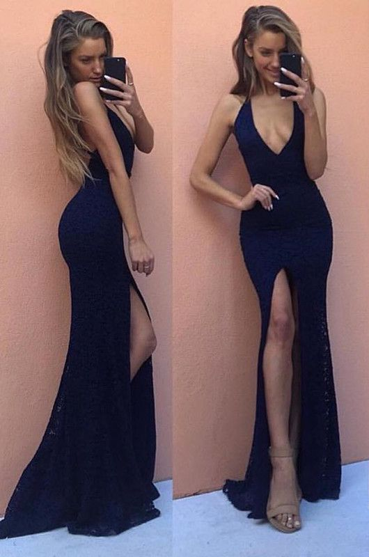 2017 Dark Navy Lace Prom Dresses Front Split V-Neck Sexy Evening Gowns