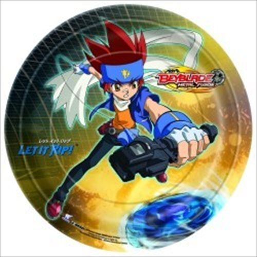 Beyblade large paper plates beyblade birthday party for Anime beyblade cake topper decoration set