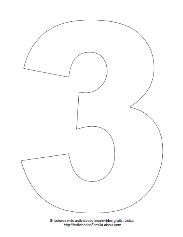 Dibujos de números para colorear: Número 3 para colorear