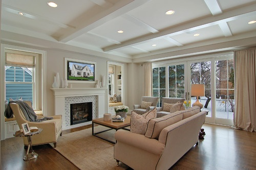 This layout would work if we put the TV over the fireplace but not sure I want to do that