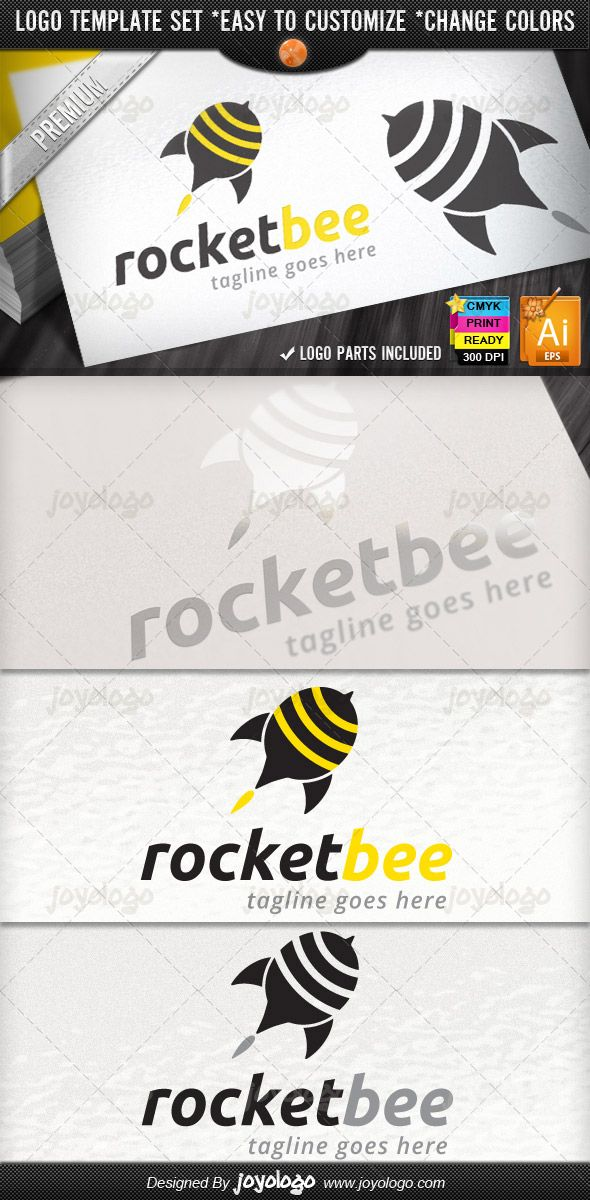 Social Marketing Pin Bee Launch Rocket Design Logo Template