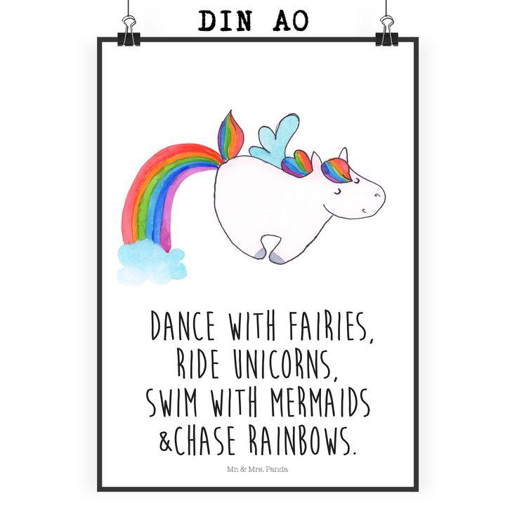 Poster DIN A0 Unicorn Pegasus aus Papier 160 Gramm  weiß - Das Original von Mr. & Mrs. Panda.  Jedes wunderschöne Poster aus dem Hause Mr. & Mrs. Panda ist mit Liebe handgezeichnet und entworfen. Wir liefern es sicher und schnell im Format DIN A0 zu dir nach Hause. Das Format ist 841 mm x 1189 mm.    Über unser Motiv Unicorn Pegasus  Das fröhliche Pegasus-Einhorn zeigt, dass die Phantasie viel schönere Dinge bietet als die Realität. Wer will schon shoppen gehen, wenn man auch mit…
