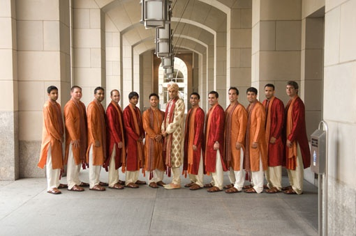 Groom with 12 groomsmen in matching sherwanis