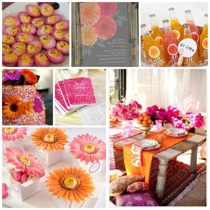bridal shower themes for spring%0A Orange  u     Pink Bridal Shower