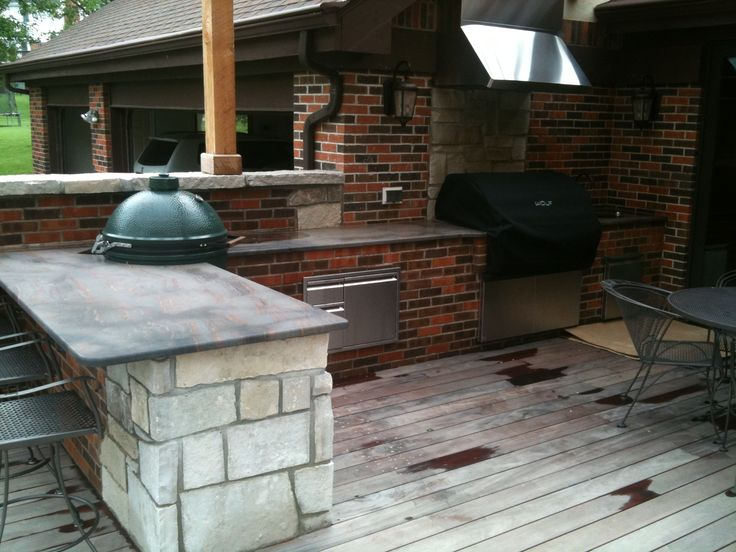 Outdoor Kitchen Built In Big Green Egg And Wolfe Gas Grill Anderson Residence By Eschmann Custom