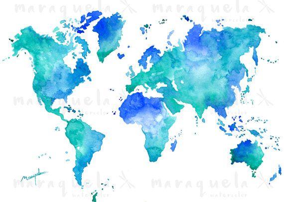 • Acuarela original inspirada en el mapa del mundo. • Diferentes tonalidades de azul y turquesa. • Disponible las impresiones de la acuarela original en diferentes medidas (ART PRINT), o si lo prefieres la pintura original hecha a mano, ¡tú eliges!  ART PRINT: • Las impresiones (ART PRINT) son realizadas profesionalmente en papel de alta calidad y alto gramaje que permiten mantener en gran medida las tonalidades y sombras de mi acuarela original. • Recuerde que los colores en el monitor…