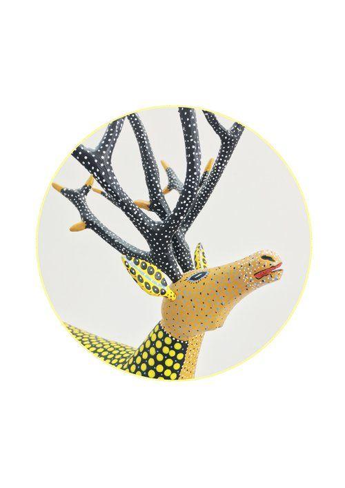 Mexican print for kids rooms - deer Alebrije