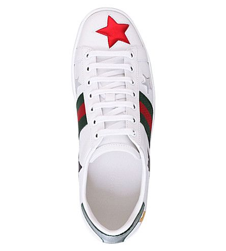 GUCCI - New Ace star-detail leather trainers   Selfridges.com