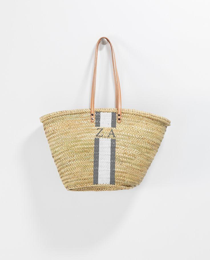 Monogram Long Leather Handle Basket | Baskets & Clutches | Accessories