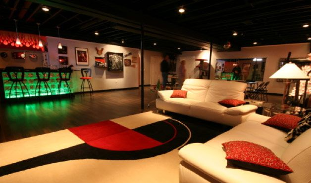 http://www.womansday.com/cm/womansday/images/Gc/06-The-Basement-Nightclub-Man-Cave-1.jpg    Polished/stained floor and open ceiling painted blackDreams Basements, Ideas, Empty Spaces, Man Cavs, Modern Man, Games Room, Woman Caves, Finish Basements, Teen Room