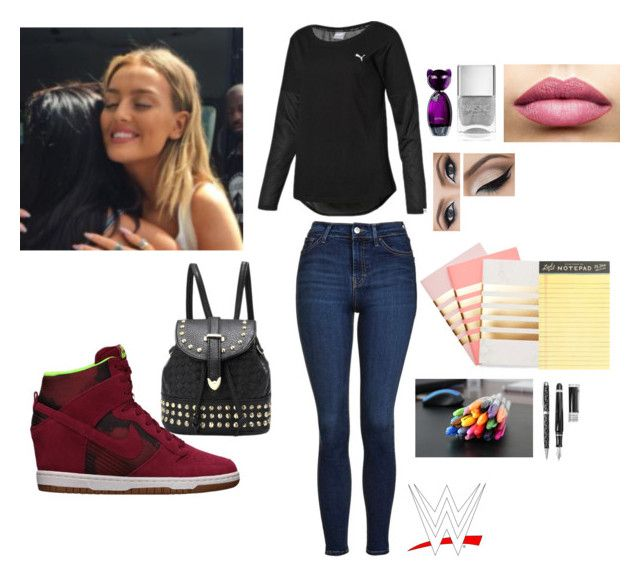 """""""Leah-First Day at WWE High"""" by thefuturemrsambrose ❤ liked on Polyvore featuring NIKE, Topshop, Nails Inc., TheBalm, Puma, StudioSarah, J.Crew, ESCADA and Stipula"""