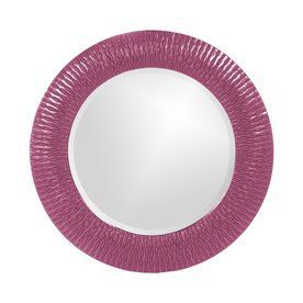 Tyler Dillon Bergman 32-In X 32-In Hot Pink Framed Round Transitional Wall Mirror Atg12053266