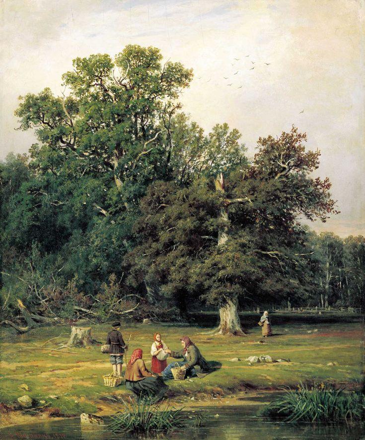 イヴァン・シーシキン (Ivan Ivanovich Shishkin) (Russian , 1832 - 1898) 「Ghatering Mushrooms」