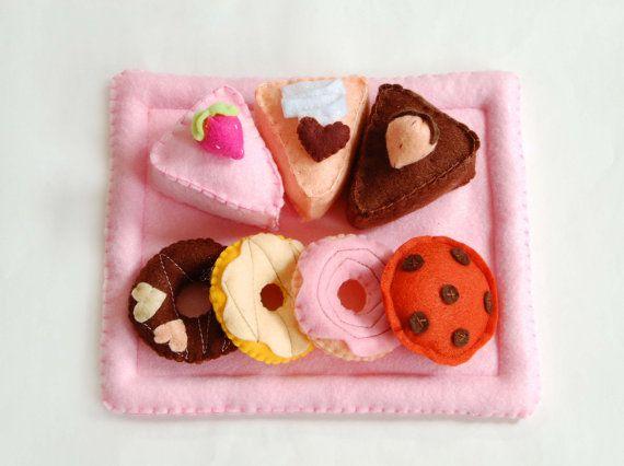 sweet felt set,felt food,toys,children, baby girl,pink,brown, handmade in italy