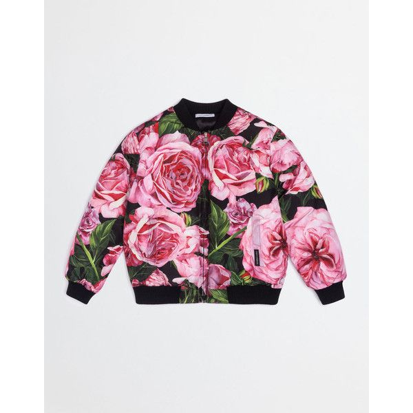 Dolce & Gabbana Printed Nylon Bomber Jacket ($395) ❤ liked on Polyvore featuring outerwear, jackets, rose print, style bomber jacket, nylon flight jacket, white jacket, blouson jacket and flight jacket