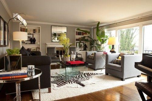 light gray walls, hardwood floors, ivory shag rug: Interior Design, Hullinger Interior, Livingrooms, Idea, Interiors, Contemporary Living Rooms